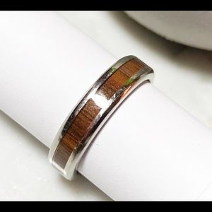 Stainless steel and inlaid wood ring